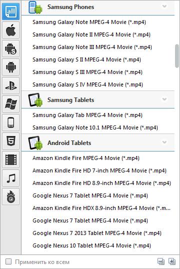 форматы в any video converter