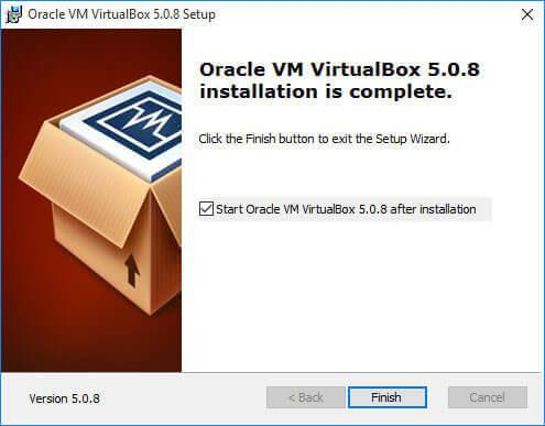 завершение установки virtualbox