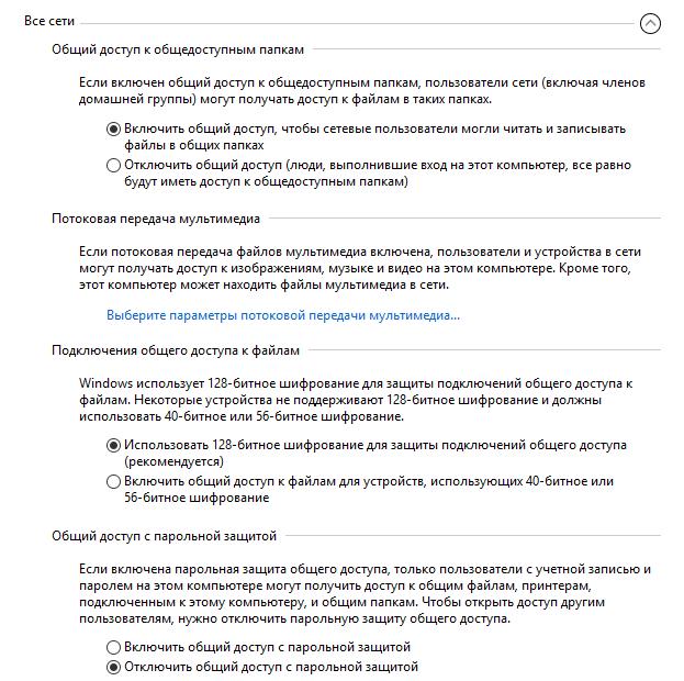параметры сетей