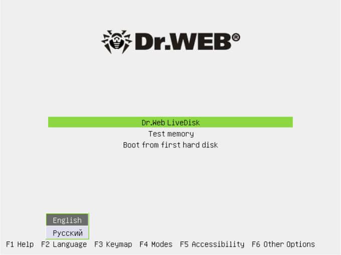 загрузка dr web live disk