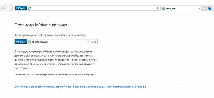 inprivate в internet explorer
