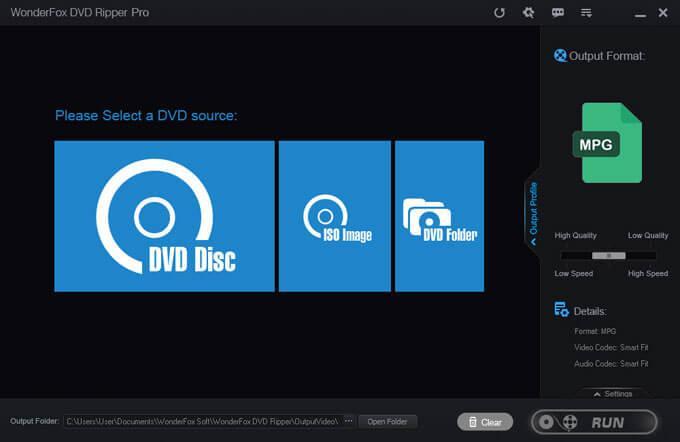главное окно wonderfox dvd ripper pro