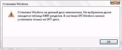 установка windows на диск невозможна