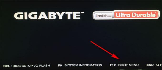 выбор клавиши boot menu