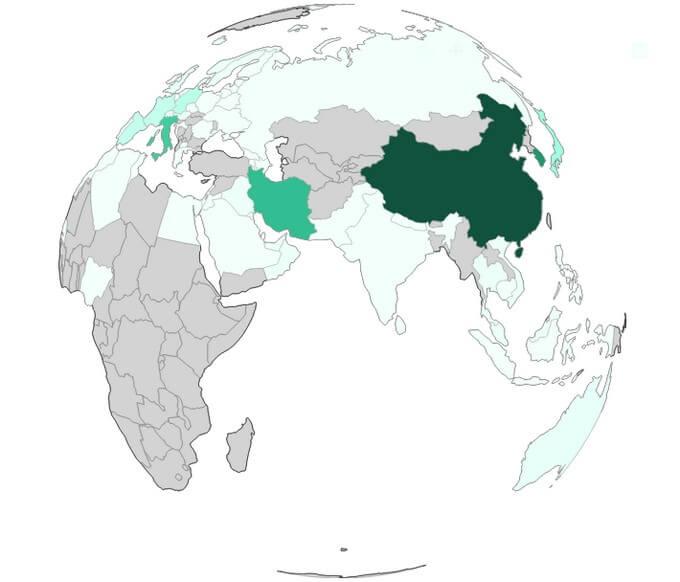 больные по странам