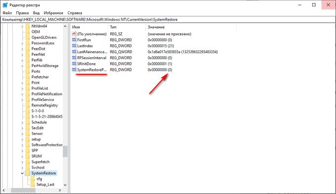 параметр в редакторе реестра